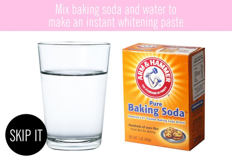 Mix baking soda and water to make an instant whitening paste