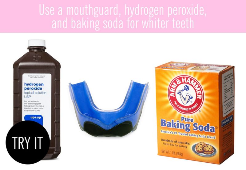 Use a mouthguard, hydrogen peroxide, and baking soda for whiter teeth
